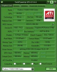 Sapphire X1600 PRO AGP GPUZ